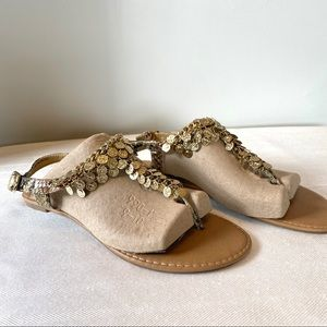 Gold-Tone coin sandals